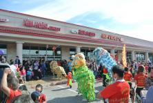 Colorful Lion Dance costumes at Chinese New Year Celebration Austin Chinatown 2014.jpg