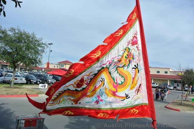 dragon flag at chinese new year celebration austin chinatown 2014