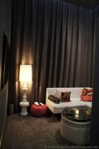 Modern furniture & chocolate drapes at W Away Spa.jpg